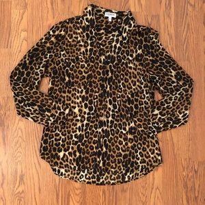 Express | Cheetah Print Portofino Shirt Size M